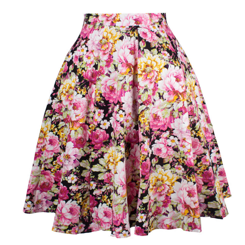 50 s женские винтажные Ретро плиссированные юбки корейский стиль весна лето линия Высокая талия горошек короткая юбка в стиле бохо Jupe Femme