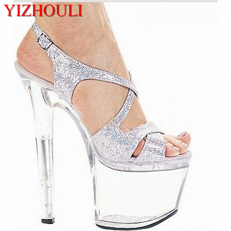Sexy 17cm High-Heeled Sandals Ultrafine Bridal Shoes Crystal Shoes Model Shoes High-Heeled Gladiator Shoes With Ankle Strap ankle strap block heeled pu sandals