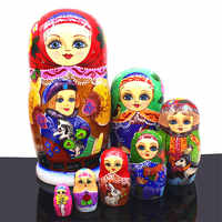 Mnotht 7 Layer Wooden Russian Dolls Handmade Paint Animal Pattern Tasteless Dry Basswood Matryoshka Doll Education Toys L30