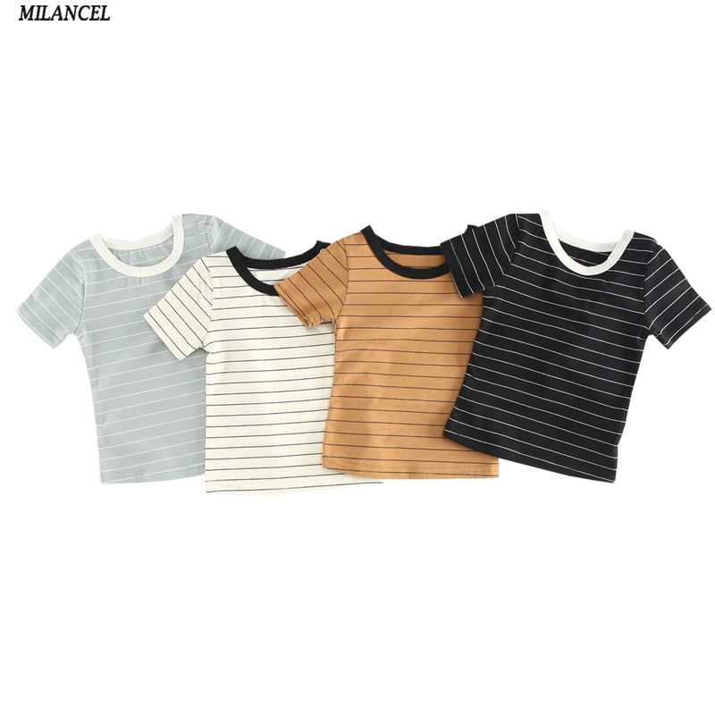 MILANCEL 2018 Summer Baby Boys Clothes Striped Girls T shirts Cotton Boys Base Tee Brief Style Baby Girls Clothing boys tee