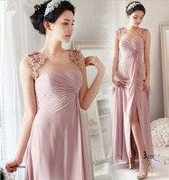 Сексуальное розовое шифоновое платье без рукавов с разрезом и цветочным узором, вечерние платья 2018, vestido de festa longo, платья подружки невесты