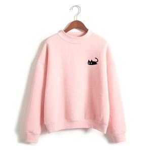 Cute embroidery cat Hoodies women Sweatshirts harajuku O-neck Coat Autumn winter ladies casual pullover sweatshirt fenimina Tops