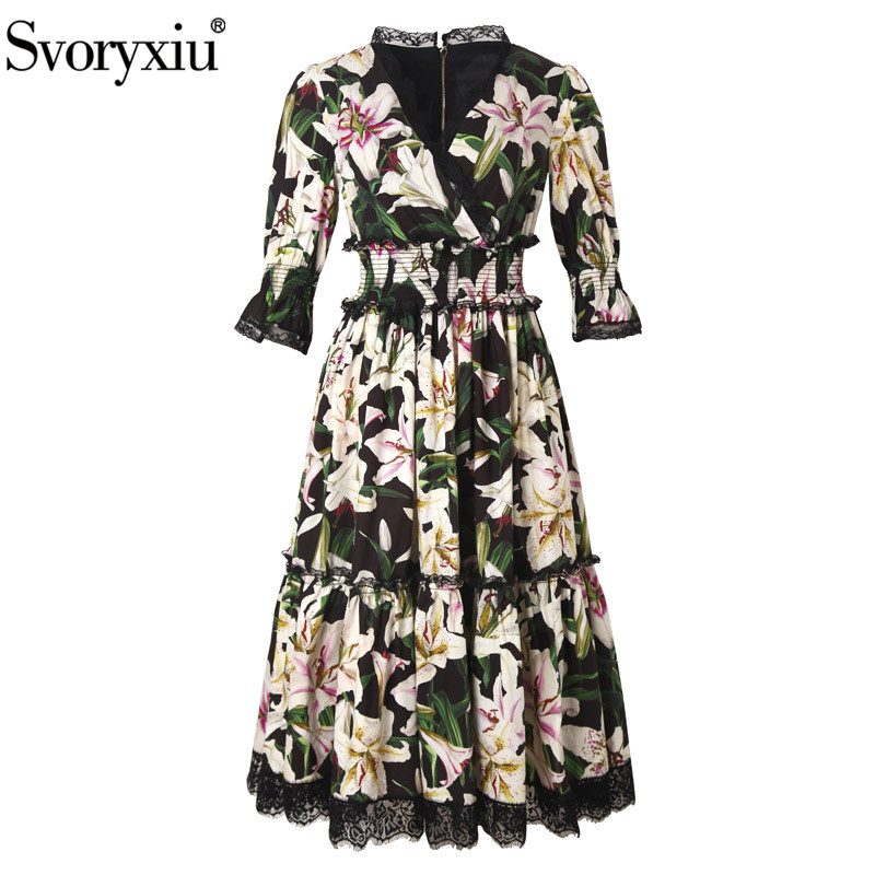 Svoryxiu Runway Custom Summer Cotton Dress Women s Vintage lily Flower Printed Patchwork Black Lace Party