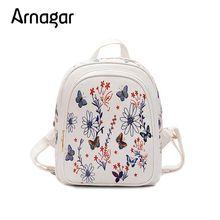 Arangar Новый Для женщин рюкзак цветы Для женщин butterflr кожа мини печати женский рюкзак школы сумка для Обувь для девочек