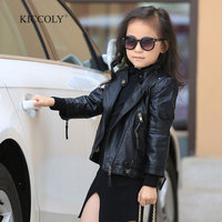 2017 Fashion Spring Autumn Baby Girls Leather Jacket Europe Children Clothes Baby Black Zipper Cardigan Coat Kids Outwear