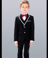 Brand New Boy Tuxedos Notch Lapel Children Suit White/Black Kid Wedding/Prom Suits ( Jacket+Vest+Pants+Tie +Shirt ) NH8