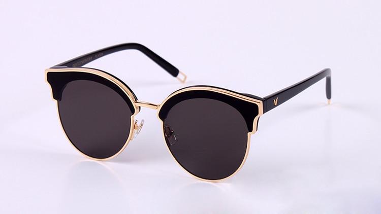 2017 Vintage Metal Half Frame Sunglasses Fashion Round Classic UV400 Mirror Gentle sign of two Designer Sun Glasses for Women