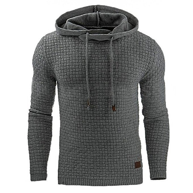 Casual Hoodie Men's Plaid Jacquard Sweatshirt 1