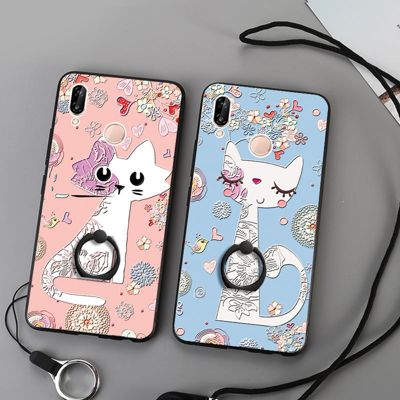 3D Relief Painting Silicone TPU Case For Huawei P20 Lite Plus Pro Back Cover For Huawei Nova 3e Ring Holder Lanyard Phone Fundas