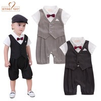 Newborn Baby Boy Clothes Gentleman Style Clothing Kids Summer Short Sleeved Boys Tuxedo Black And Gray