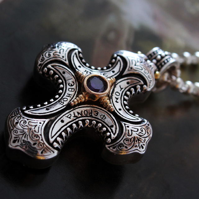 Super Gorgeous Palace Restoring Ancient Ways  Silver Big Cross Pendant