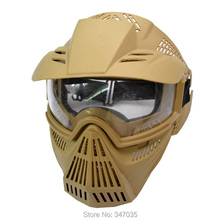 1X Mask Full Face CS Game Archery Shooting Practice Outdoor Sports Airsoft Paintball Protect Crystal Goggles Brown Khaki