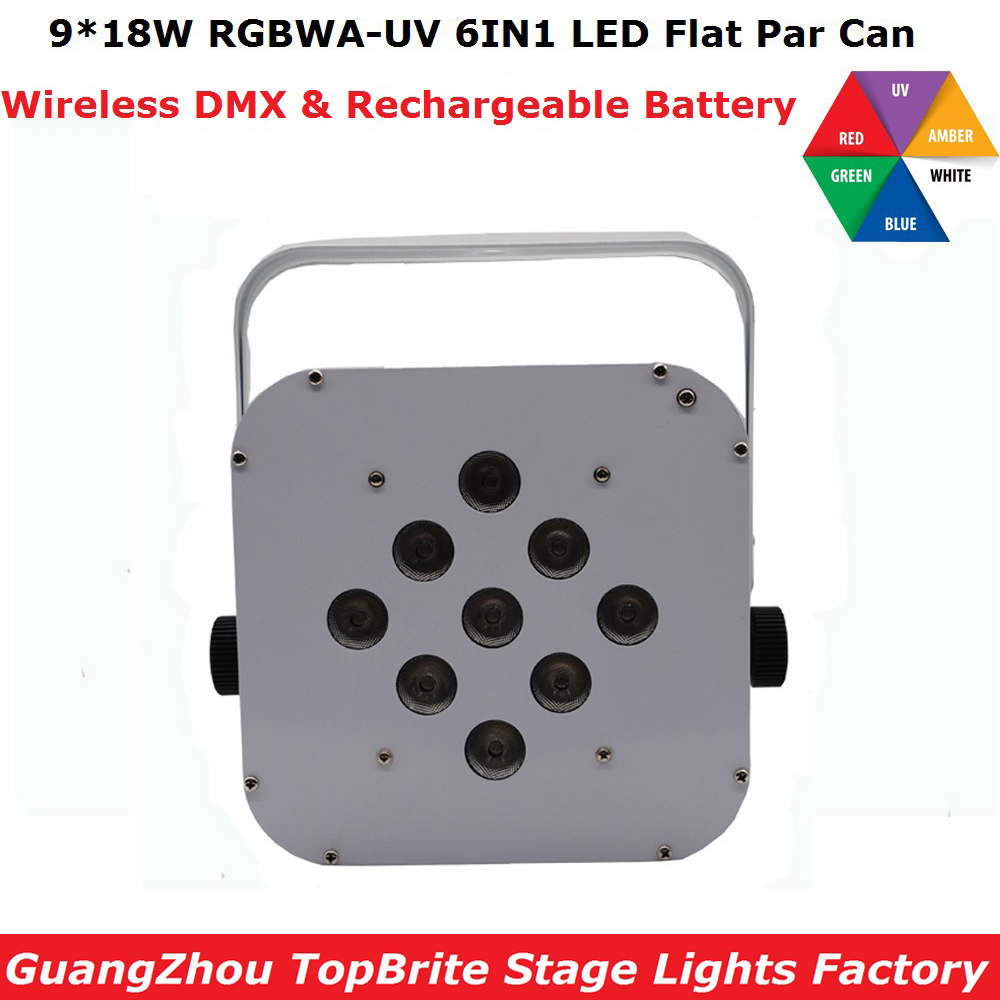 Cheap Price 1Pcs LED Par Can 9X18W RGBWA-UV Wireless DMX & Battery Led Flat Par Light For Stage Party Wedding Events Lighting freeshipping 10in1 charging flightcase packing 12 18w stage wireless battery flat led par light rgbaw uv 6in1 uplighting par can
