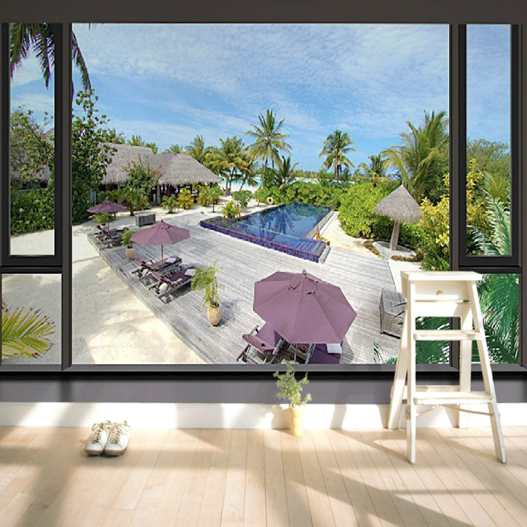 Custom 3d perspective fake window balcony sea view large mural wallpaper living room sofa bedroom TV backdrop fabric wall paper aegean sea scenery sea tree beach 3d wallpaper tv background wallpaper the living room sofa backdrop mural
