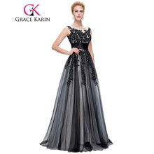 Grace Karin 2017 Soft Tulle Lace Long Black Appliques Evening Dresses Elegant Sequin Sleeveless Formal Evening Dress Party Gowns