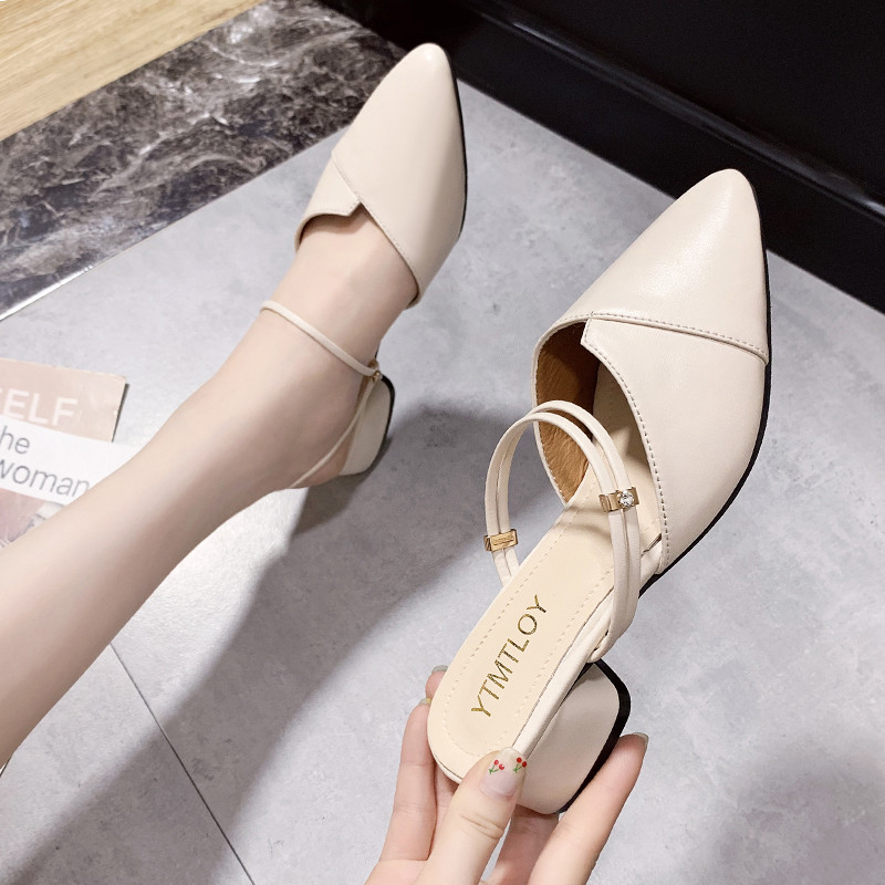 PU Leather High Heels Pumps Women Shoes 2019 Summer Shoes Women Fashion Pointed Square Heel Sandals Women Slip-On Casual Shoes