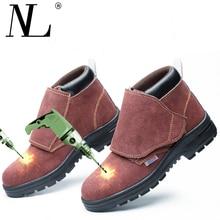 Для Мужчин's защитная обувь для сварки сталь носком кепки защитные сапоги и ботинки для девочек мужчин сталь-Mid подошва проколов коровьей кожи Рабочая обувь