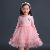 4 12T Baby Girls Clothing Cake Dresses Long Sleeve Pink Girls Clothes Princess Dress Kids Clothing