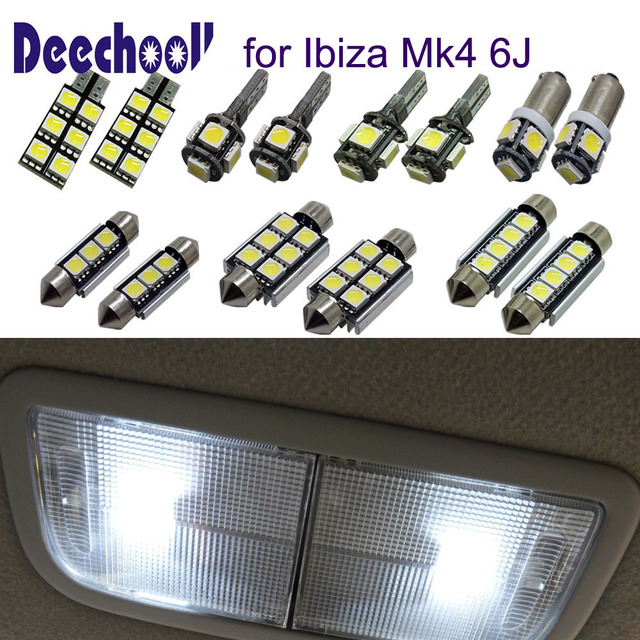 Deechooll 4pcs LED Car Bulbs For Seat Ibiza 6J , Canbus White Interior  Light For Seat