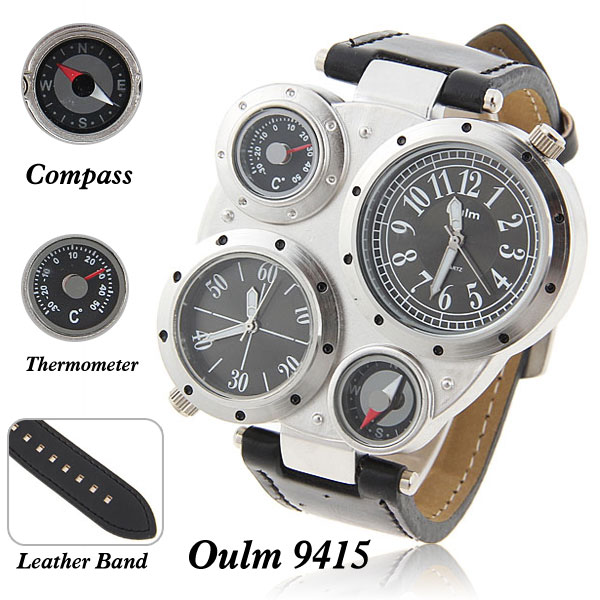 2017 Oulm Men's Quartz Wristwatches Analog Military Watch with Compass Thermometer Dual Time Band Watch big face masculine watch thermometer watch compass watch two time zone display dual movt quartz watch for men oulm 1349