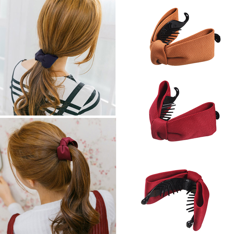 M MISM Girls Simple Cloth Bow Banana Hair Comb Clips Korean Fashion Style Ponytail Holders Sweet Solid Color Hair Accessories(China)