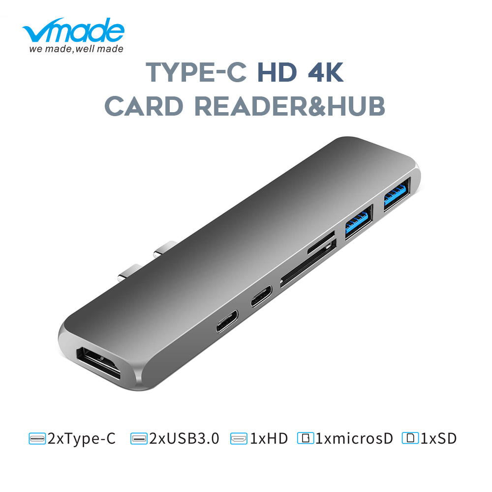 Vmade Type C USB C 3.1 HUB Thunderbolt 3 HD 1080p 4K Power Mini Converter for MacBook Air 2018 or MacBook Pro Type C 7 in 1 HUB-in USB Hubs from Computer & Office
