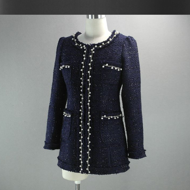 Aliexpress.com : Buy dark blue tweed jacket autumn / winter new ...