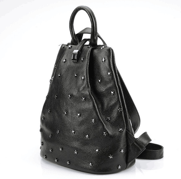 Punky style women stud cow skin genuine leather soft school backpack