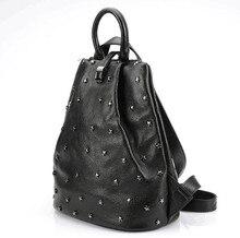 Punky Стиль женщины stud Корова кожа натуральная кожа мягкий школьный рюкзак