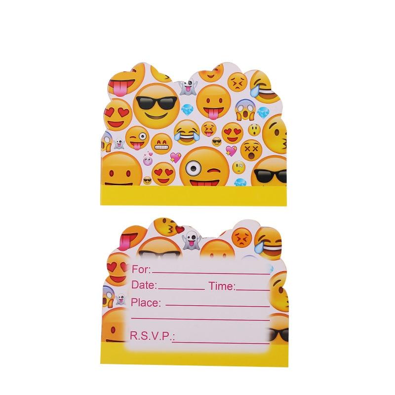 10pcs/lot Cartoon Emoji Theme Party Paper Invitation Card Kids Happy Birthday Party Supplies Decoration Favors