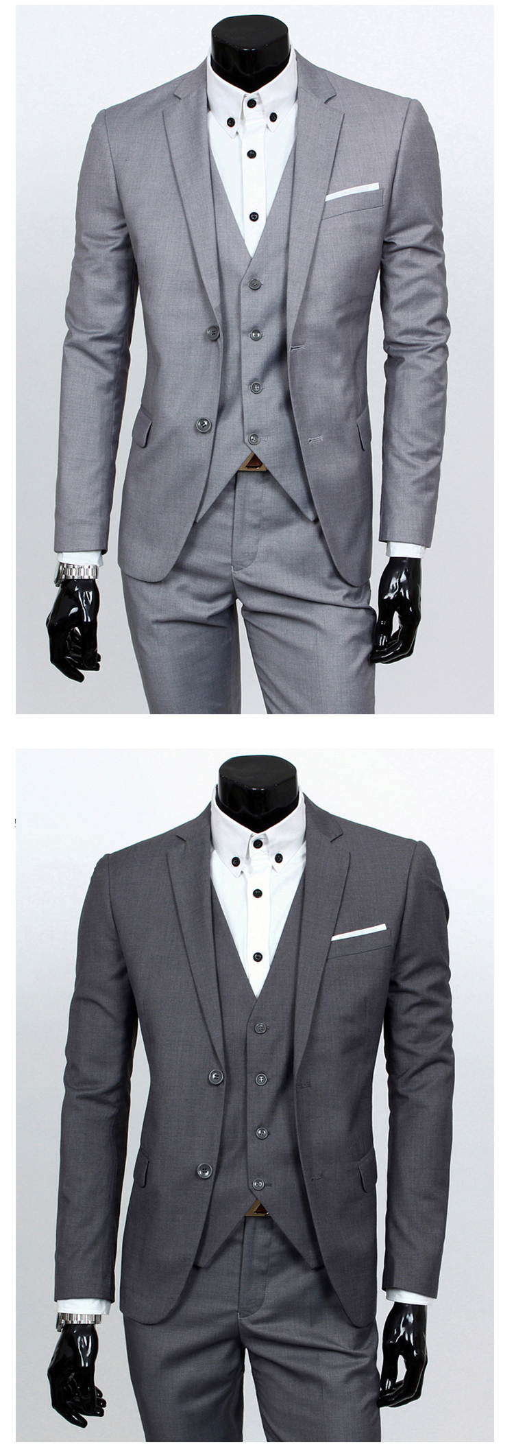 af0a5f1e4 suit + vest + pants 3 pieces sets / Men's one buckle and two button  business suits blazers jacket coat + trousers +waistcoat
