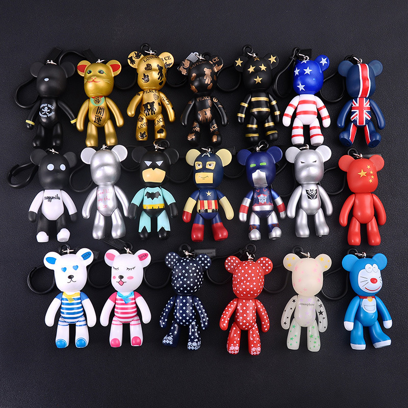 Bomgom Cartoon Popobe Gloomy Bear Teddy Bear Cute Keychain Car Key Holder Bag Charm Resin Key Chain Key Ring Pendant Kids Toy F6
