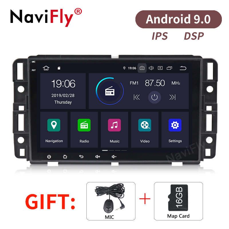 NaviFly Pure Android9.0  IPS DSP Car audio gps navigator  for Chevrolet Tahoe Traverse BUICK Enclave GMC support OBD2 TPMS