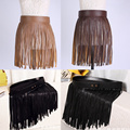 New Arrival Women Hippie Boho Fringe Tassel PU Faux Leather Belt All Matching High Waist Long Belts Fringed Cummerbuns Skirt