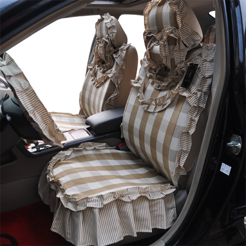 Princess Car Seat Covers Smart Garments Fashion Plaid Cotton Cover Lace