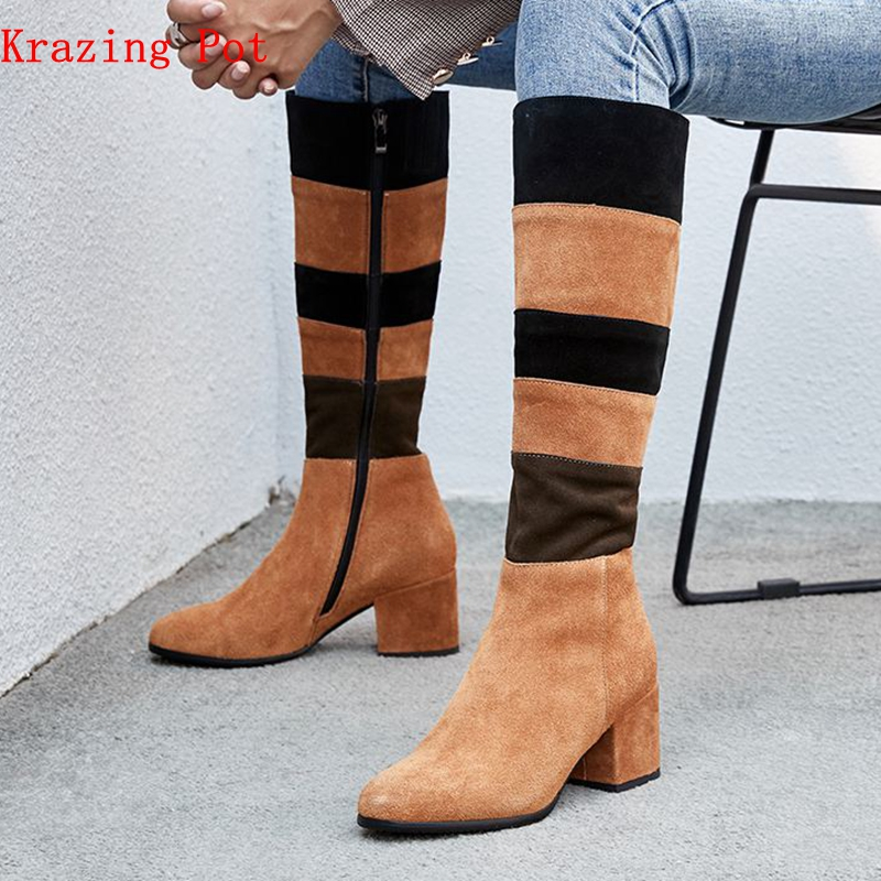 krazing pot cow suede zipper round toe original design high heels mixed color modern runway catwalk girl thigh high boots L44krazing pot cow suede zipper round toe original design high heels mixed color modern runway catwalk girl thigh high boots L44