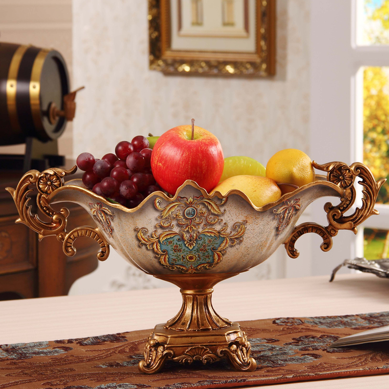 Fruit Bowl Resin European Luxury Retro Decor Decoration Large Living Room Home Furnishing Dish Housewarming Gift In Figurines Miniatures From