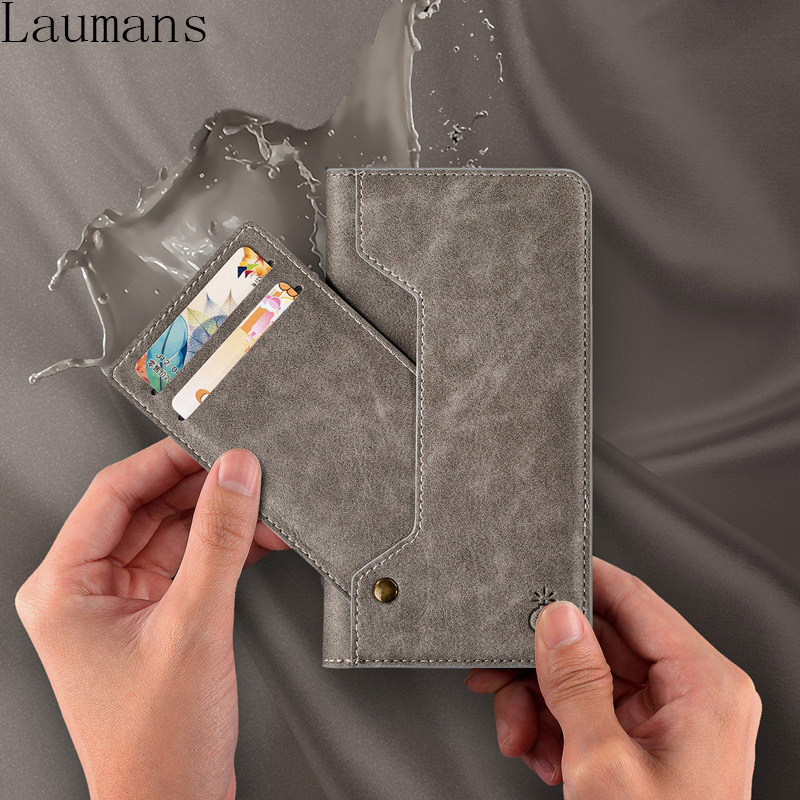 Laumans Luxury Flip Leather Case For iPhone X 8 Plus 7 plus 6 6S Plus Cover For Samsung Galaxy S8 Note 8 Stand Cases Card Slot
