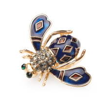 Wuli&baby Blue White Bee  Enamel Brooches Men Women's Alloy Insects Weddings Party Banquet Brooch Girls' Bag Hat's Accessories