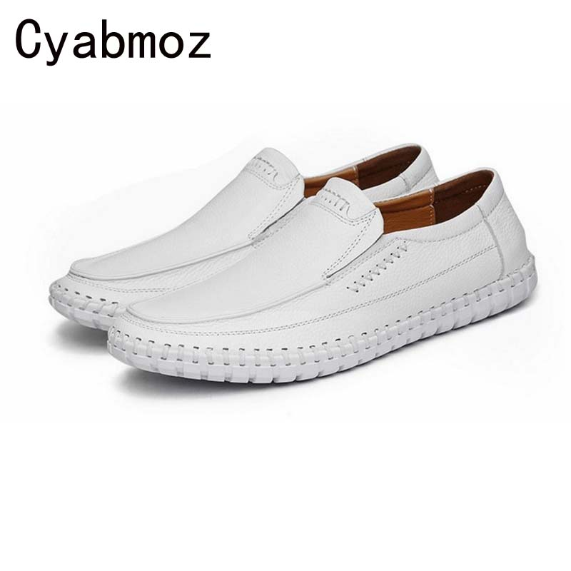 Spring Casual High Quality Men's Genuine Leather Slip-on Loafers Driving Shoes Fahion Boat Shoe Mens Handmade Sewing Moccasins spring high quality genuine leather dress shoes fashion men loafers slip on breathable driving shoes casual moccasins boat shoes
