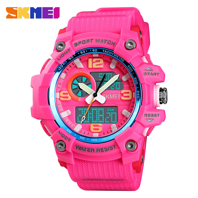 SKMEI Women Sprot Digital Watches 3 Time Display G Style Shock Digital Quartz Electronic Wristwatches Countdown Waterproof Clock