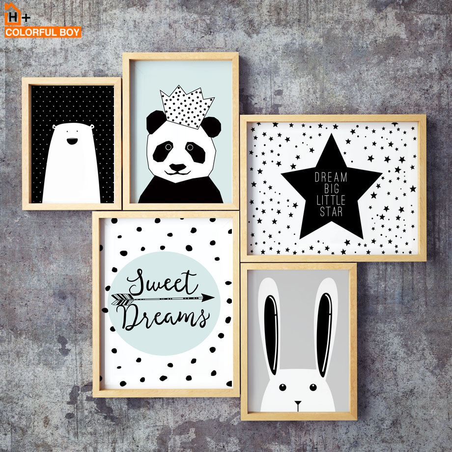 Big Deal  Canvas Painting Wall Art Print Crown Panda Animal Nordic Style Kids Decoration Posters And Prints W