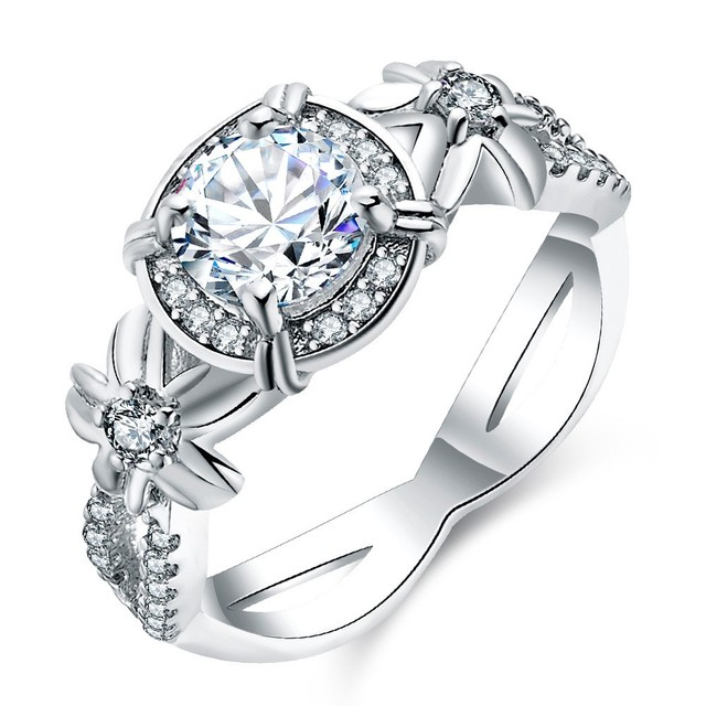Vecalon Women Jewelry 6mm AAAAA Zircon Cz Female Cross Wedding Ring  Platimum Plated Engagement Band Ring