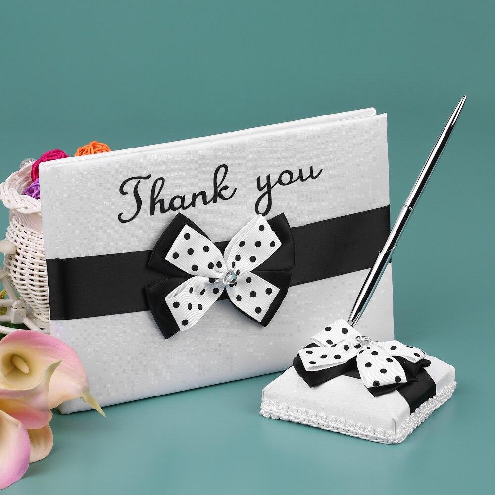 Fournitures de mariage 4 pièces/ensemble Satin fleur fille panier anneau porteur oreiller livre invité porte-stylo ensemble décor avec Bowknot blanc noir - 3