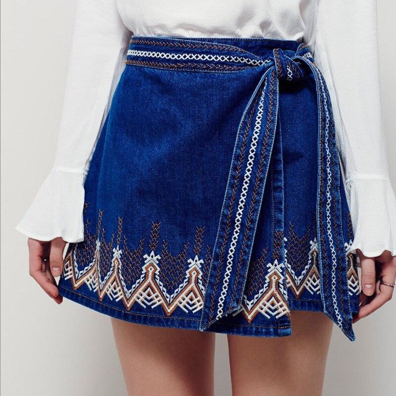 Skirt Denim Embroidery Mini Empire Navy Summer Sexy Boho Bohemian Hippie Chic Style People Brand ...