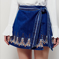 skirt denim embroidery mini empire navy summer sexy boho bohemian hippie chic style people brand women clothing 2017