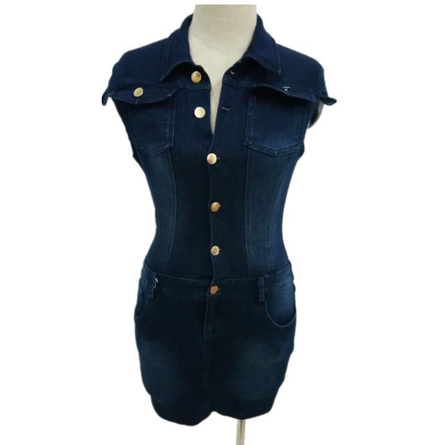 Summer Women's Streetwear Style Sexy Slim Denim Single-breasted Stand Collar Pockets Zipper Dress Bag Hip Dress Nightclub 5