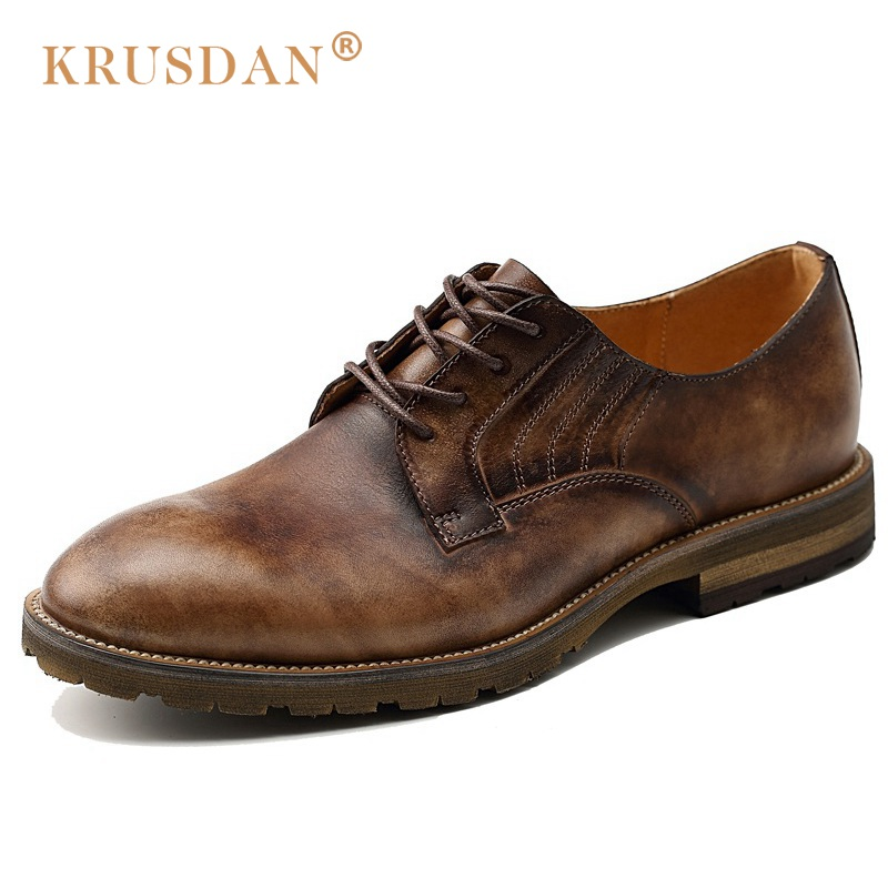 KRUSDAN Hot Sales Man Derby Dress Shoes Genuine Leather Handmade Oxfords Round Toe Lace Up Formal Wedding Party Men's Flats pjcmg fashion spring autumn pointed toe black red lace up flats round toe genuine leather oxfords men dress wedding shoes