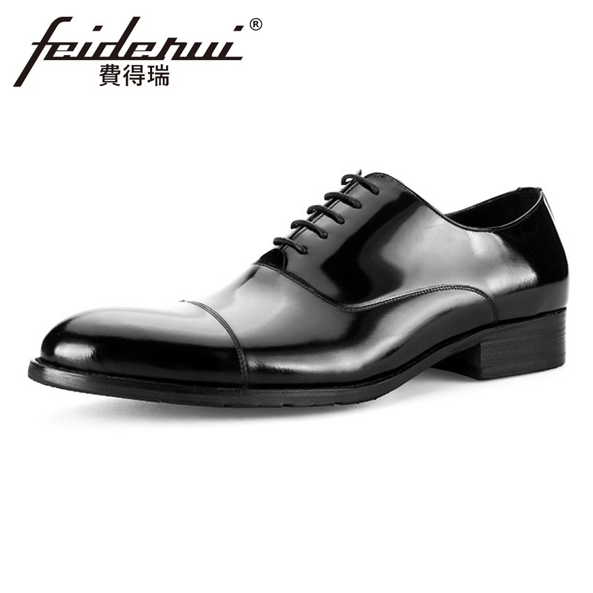 Luxury Genuine Leather Men's Wedding Oxfords Round Toe Lace-up Man Formal Dress Flats esigner Cow Male Office Party Shoes BQL53 men business dress shoes fashion lace up flats genuine leather formal office loafers party wedding oxfords shoes male walkerpeak