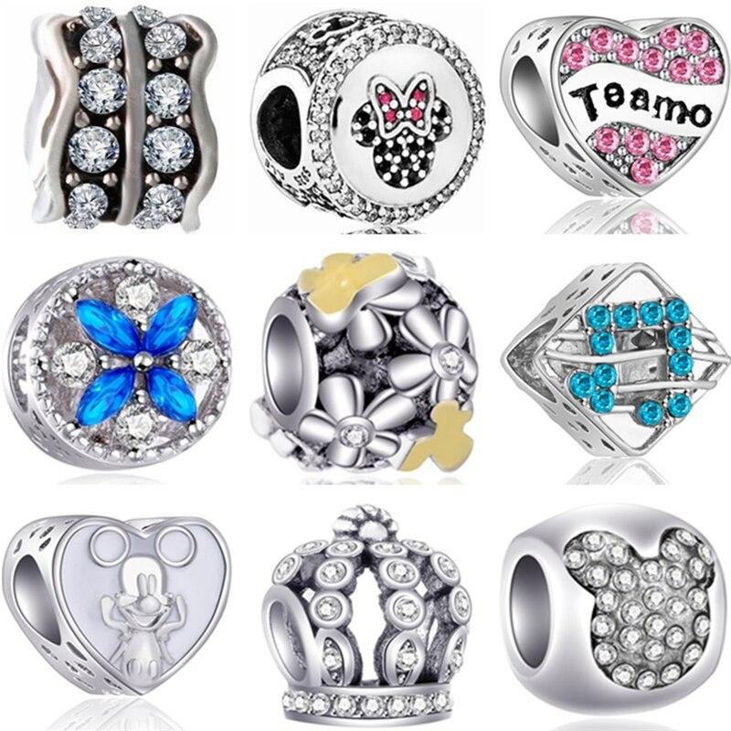 Btuamb Punk Style Carved Flower Handbag Firework Mickey & Minnie Cartoon Charm Beads Fit Pandora Original Bracelets Diy Jewelry Jewelry & Accessories